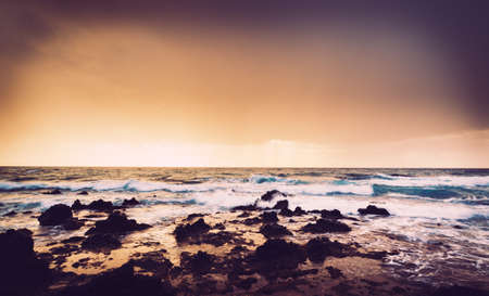 Dramatic Stormy Sunset In Hawaii photo