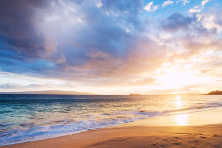 and brilliant: Dramatic Sunset on the Beach In Hawaii Stock Photo