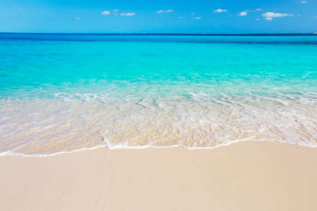 the turks: Tropical White Sand Beach and Sea In the Turks and Caicos Islands Stock Photo