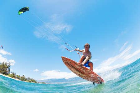 Kite Surfing, Spaß in den Ozean, Extreme Sport