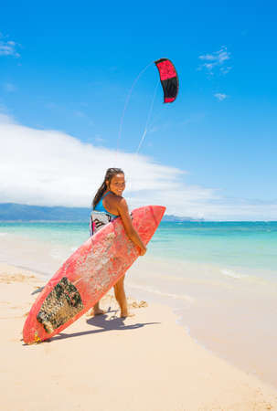 Kiteboarder on Beautiful Beach photo