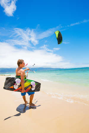 Kiteboarder on Beautiful Beach photo