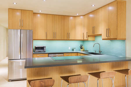 home appliances: Modern Kitchen Interior Design Architecture  Stock Photo
