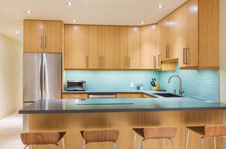domestic kitchen: Modern Kitchen Interior Design Architecture  Stock Photo