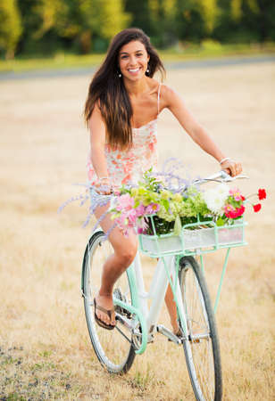 Beautiful Young Woman on Bike in Countryside, Summer Lifestyle Stok Fotoğraf - 21578886