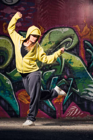 street dance: young beautiful dancer