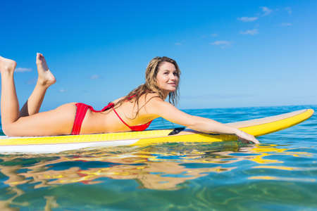 paddleboard: Attractive Woman on Stand Up Paddle Board, SUP, Tropical Blue Ocean, Hawaii