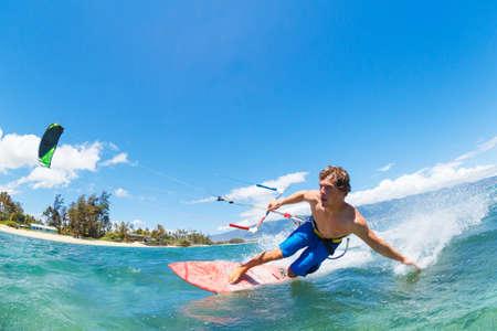 kiteboarding: Young Man KiteBoarding, Fun in the ocean, Extreme Sport Kitesurfing