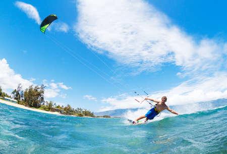 kite surfing: Young Man KiteBoarding, Fun in the ocean, Extreme Sport Kitesurfing