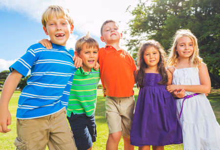 Group of Happy Kids Playing Together Outside, Friendship Concept Stock Photo - 22168266