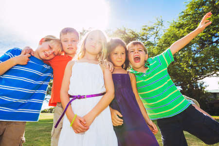Group of Happy Kids Playing Together Outside, Friendship Concept Stock Photo - 22168269