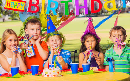 kids birthday party: Group of adorable kids at birthday party
