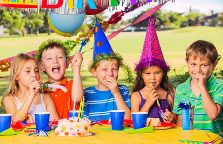 birthday party kids: Group of adorable kids at birthday party