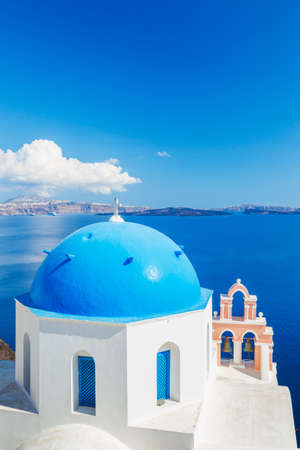 White Architecture and Blue Ocean, Santorini Island, Greece, View of caldera with domes Stock Photo