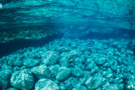Natural Blue Water Pool, Underwater View