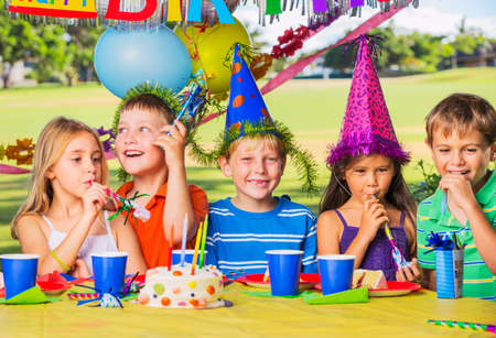 kids birthday party: Kids at Birthday Party, Cake and Balloons