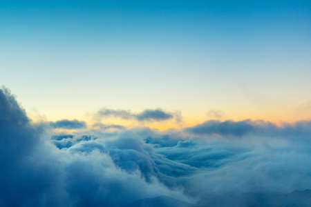 View Above the Clouds, Beautiful Sunset Cloudscape Banco de Imagens