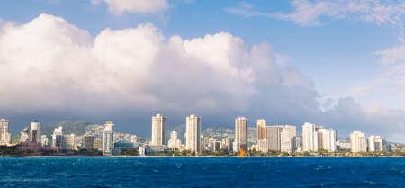 hawaii flag: View on Honolulu City Skyline from Water, Waikiki Stock Photo