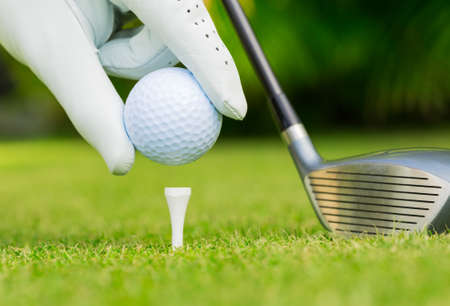 Close up view of golf ball on tee on golf course Stockfoto