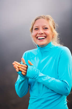 fitness motivation: Young attractive athletic woman, wearing sporty cloths on trail
