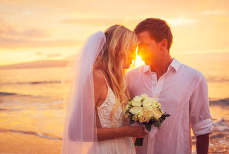 groom: Bride and Groom, Enjoying Amazing Sunset on a Beautiful Tropical Beach, Romantic Married Couple Kissing