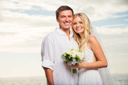 Just married couple on the beach, Hawaii Beach Wedding photo