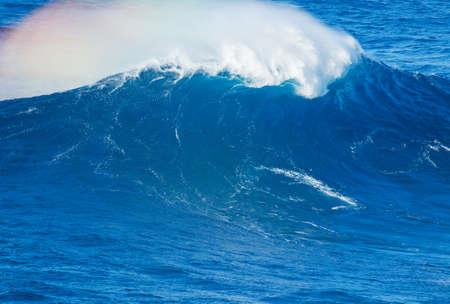 shorebreak: Giant Blue Ocean Wave Stock Photo