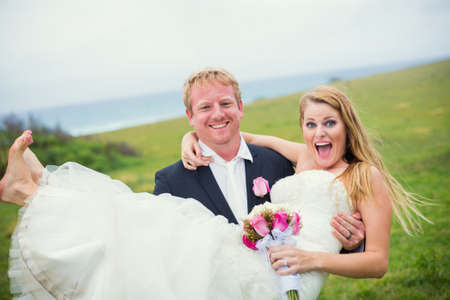 Wedding Couple, Happy Bride and Groom, Shallow depth of field, focus on bride photo