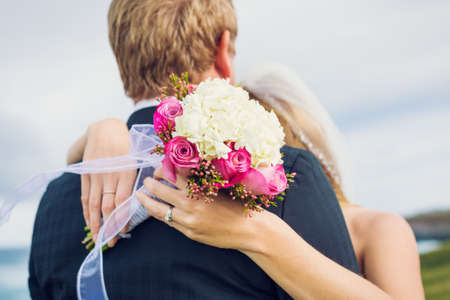 Wedding, Detail of beautiful flower bouquet, shallow depth of field focus on flowers photo