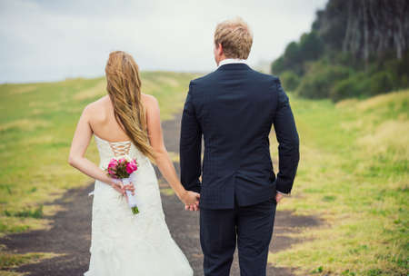 Wedding Couple in the Countryside, Happy Romantic Bride and Groom, photo