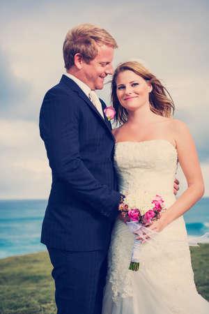 Wedding, Happy couple in love Stock Photo