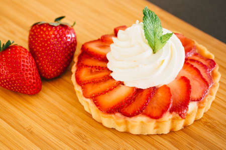 tartlet: Organic Healthy All Natural Delicious Strawberry Tart Dessert Stock Photo