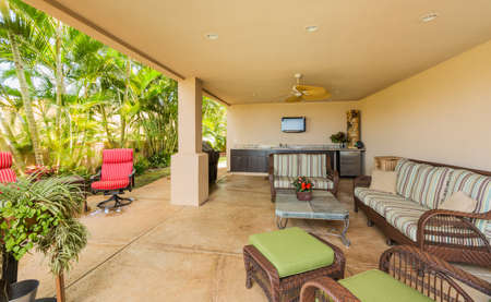 patio deck: Outdoor Deck and Patio Furniture, Luxury Home Interior Design Stock Photo