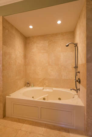 travertine house: Beautiful Contemporary Bathroom Shower in New Luxury Home