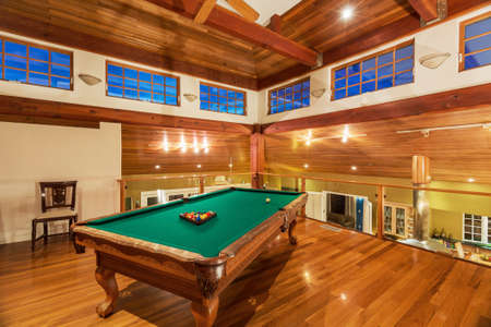 Pool Table in Luxury Home photo