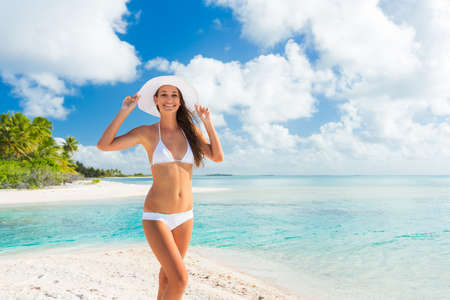summer vacation bikini: Beautiful Young Woman Relaxing Tropical Island, Vacation Travel Concept Stock Photo