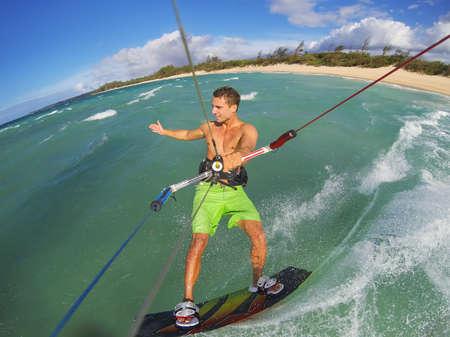 kiteboarding: Kiteboarding, Fun in the Ocean, Extreme Sport.  Stock Photo
