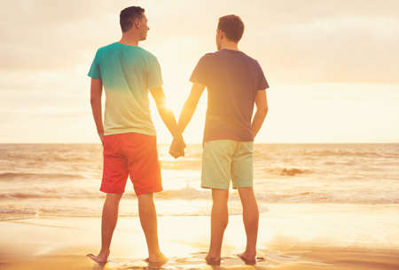 adult sex: Happy gay couple watching sunset on the beach