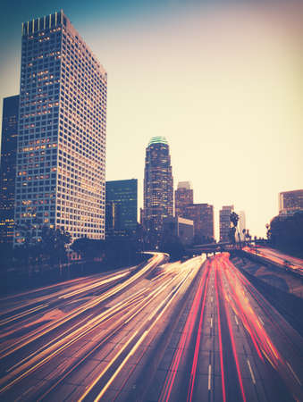 central california: Vintage Style Photo of Urban City at Sunset Stock Photo