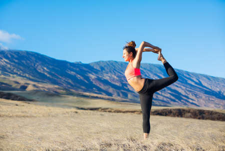 Yoga woman outdoors photo
