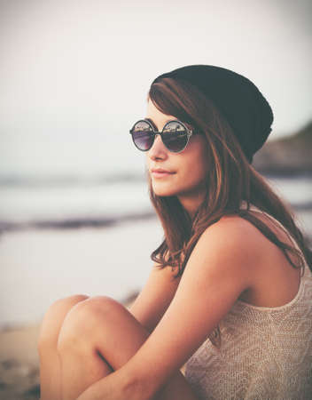 Portrait of Beautiful Fashionable Hipster Woman   photo