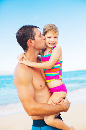 flying man: Happy and Loving Father and Daughter on the Beach, Summer Lifestyle