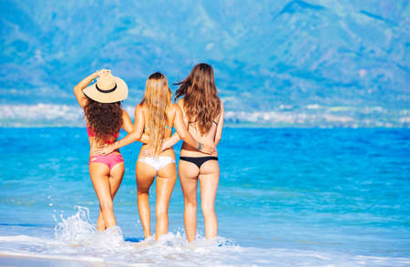 thong: Group of Attractive Girls in Sexy Bikinis Having Fun Walking on Tropical Beach