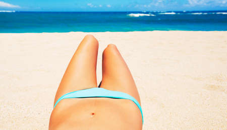 beach breast: Woman with Beautiful Body on Topical Beach; Point of View Perspective Looking out at Ocean Stock Photo