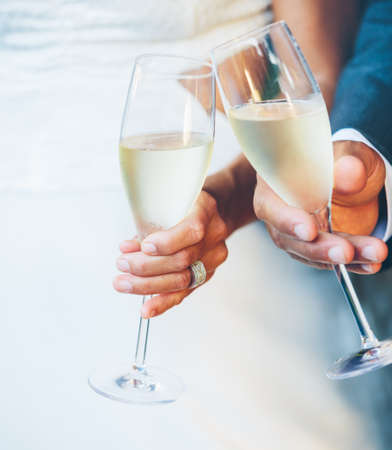 Wedding Couple Champagne Toast photo