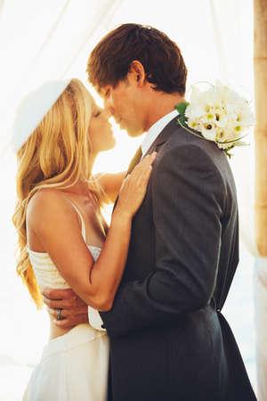 Romantic Beautiful Wedding Couple Stock Photo