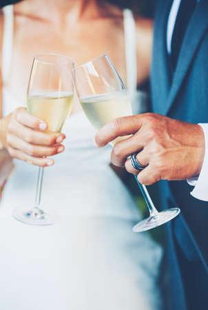 Wedding Couple Champagne Toast Archivio Fotografico