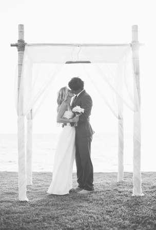 Wedding, Beautiful Bride and Groom Embracing