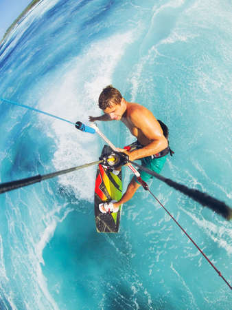 extreme angle: Kiteboarding, Extreme Sport. Fun in the ocean, Kitesurfing.