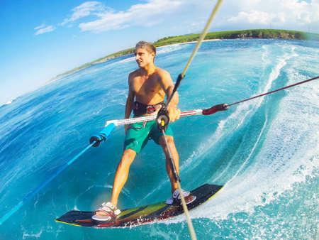 Kiteboarding, Extreme Sport. Fun in the ocean, Kitesurfing.